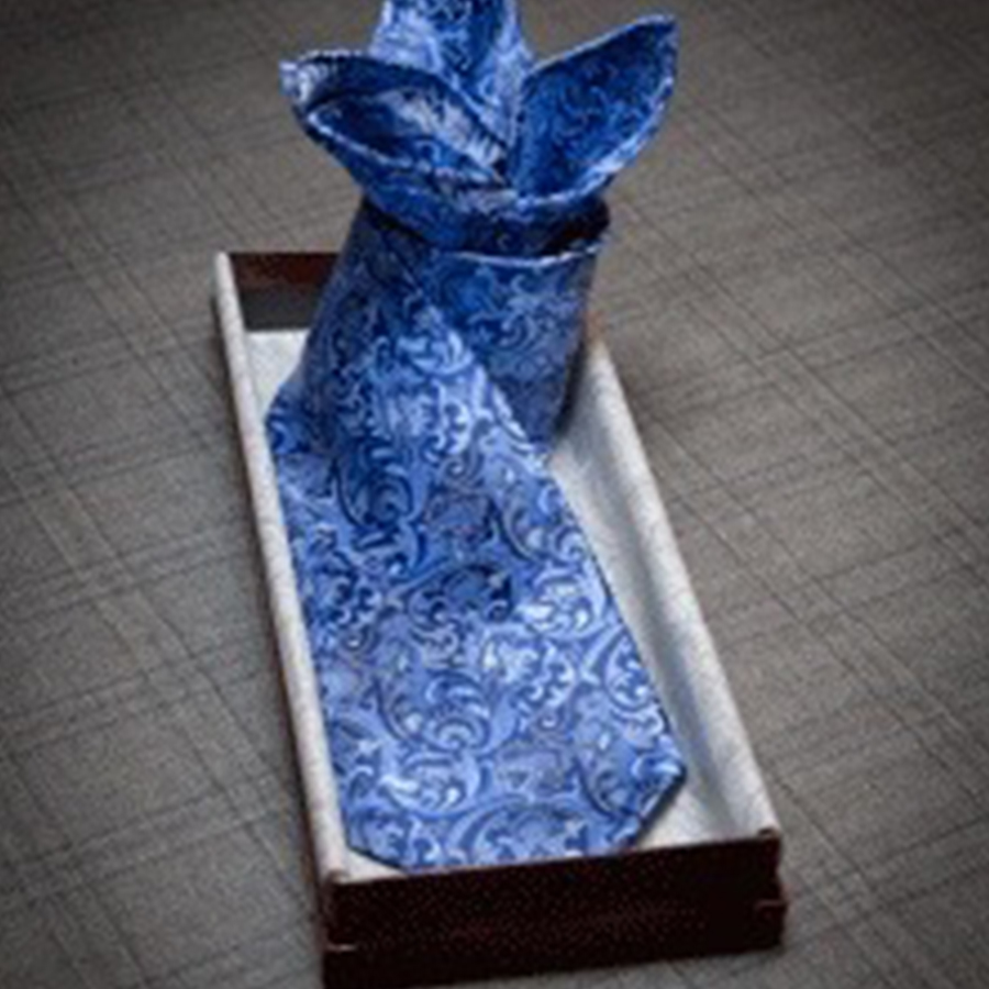 Blue tie for bespoke suit