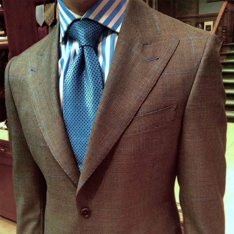 Great example of how brown custom suits are still timeless