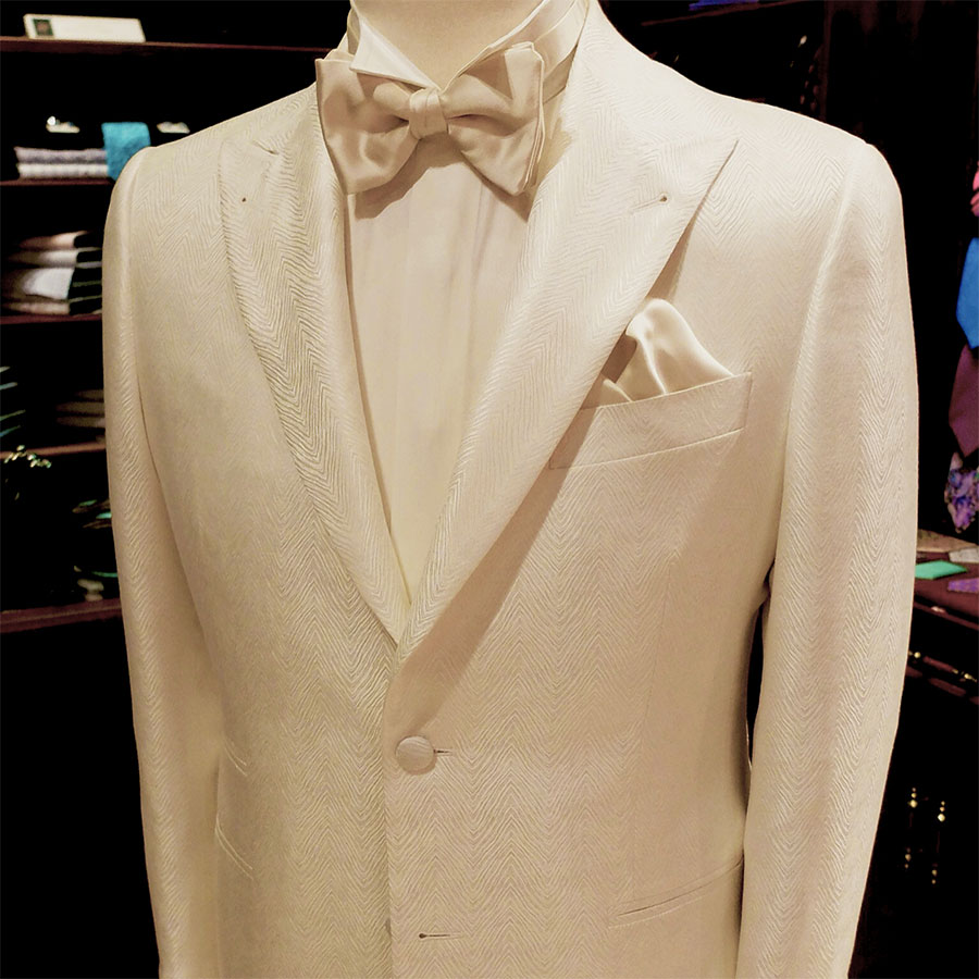 A Champagne Bespoke Suit For Weddings